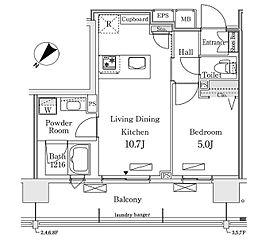 東京メトロ有楽町線 豊洲駅 徒歩12分の賃貸マンション 8階1LDKの間取り