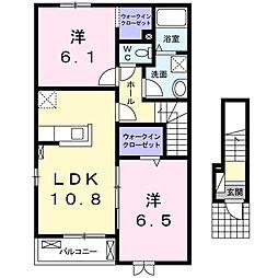 JR常磐線 大津港駅 徒歩28分の賃貸アパート 2階2LDKの間取り