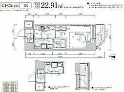 JR総武線 新小岩駅 徒歩10分の賃貸マンション 6階1Kの間取り