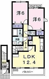 JR東北本線 新白岡駅 徒歩11分の賃貸アパート 2階2LDKの間取り