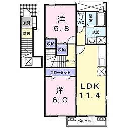 JR八高線 児玉駅 徒歩20分の賃貸アパート 2階2LDKの間取り