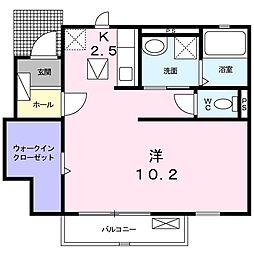 JR青梅線 拝島駅 徒歩15分の賃貸アパート 1階1Kの間取り