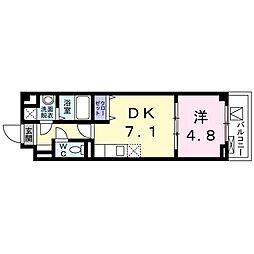 京急本線 鮫洲駅 徒歩3分の賃貸マンション 2階1DKの間取り