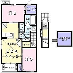 JR高崎線 神保原駅 徒歩25分の賃貸アパート 2階2LDKの間取り
