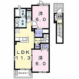 JR上越線 沼田駅 7.6kmの賃貸アパート 2階2LDKの間取り