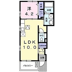 JR中央線 国立駅 徒歩14分の賃貸アパート 1階1LDKの間取り