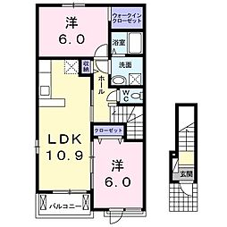JR常磐線 大津港駅 徒歩15分の賃貸アパート 2階2LDKの間取り