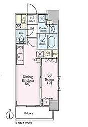 東京メトロ南北線 白金高輪駅 徒歩5分の賃貸マンション 8階1DKの間取り