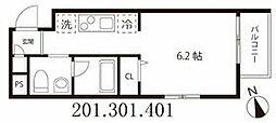 東京メトロ半蔵門線 押上駅 徒歩5分の賃貸マンション 4階1Kの間取り