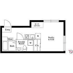 京王線 初台駅 徒歩5分の賃貸マンション 4階ワンルームの間取り
