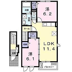 JR予讃線 多度津駅 徒歩23分の賃貸アパート 2階2LDKの間取り