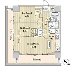 東京メトロ有楽町線 豊洲駅 徒歩2分の賃貸マンション 15階2LDKの間取り