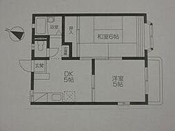 JR中央線 国立駅 徒歩15分の賃貸アパート 2階2DKの間取り
