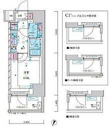 東京メトロ千代田線 綾瀬駅 徒歩12分の賃貸マンション 14階1Kの間取り