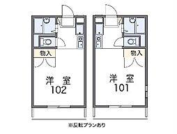 JR東北本線 久喜駅 徒歩20分の賃貸アパート 2階1Kの間取り