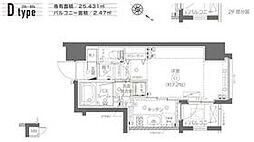 都営大江戸線 月島駅 徒歩6分の賃貸マンション 2階1Kの間取り