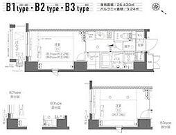 都営大江戸線 月島駅 徒歩6分の賃貸マンション 5階1Kの間取り