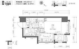 都営大江戸線 月島駅 徒歩6分の賃貸マンション 8階1Kの間取り