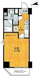 東急大井町線 旗の台駅 徒歩1分の賃貸マンション 6階1Kの間取り