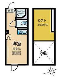 JR山手線 新大久保駅 徒歩7分の賃貸アパート 2階ワンルームの間取り