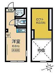 JR山手線 新大久保駅 徒歩7分の賃貸アパート 1階ワンルームの間取り