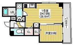 都営新宿線 東大島駅 徒歩5分の賃貸マンション 3階1DKの間取り