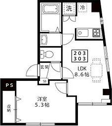 東京メトロ日比谷線 三ノ輪駅 徒歩8分の賃貸マンション 3階1LDKの間取り