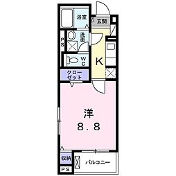 JR東海道・山陽本線 桂川駅 徒歩12分の賃貸マンション 2階1Kの間取り