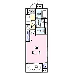 JR東海道・山陽本線 桂川駅 徒歩12分の賃貸マンション 4階1Kの間取り