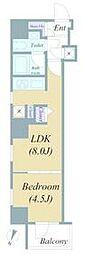 JR山手線 神田駅 徒歩7分の賃貸マンション 4階1LDKの間取り
