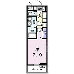 東武東上線 上福岡駅 徒歩7分の賃貸アパート 3階1Kの間取り