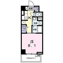 京急本線 鮫洲駅 徒歩4分の賃貸マンション 5階1Kの間取り