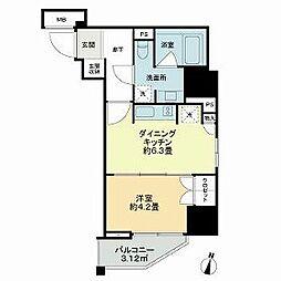 都営新宿線 岩本町駅 徒歩4分の賃貸マンション 8階1DKの間取り