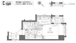 都営大江戸線 月島駅 徒歩6分の賃貸マンション 7階1Kの間取り