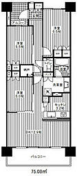JR中央線 西国分寺駅 徒歩8分の賃貸マンション 5階3LDKの間取り
