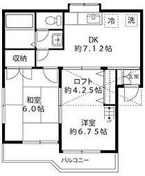 JR中央線 立川駅 バス18分 小川一番下車 徒歩1分の賃貸アパート 2階2DKの間取り