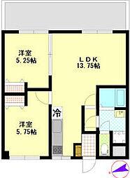 JR五日市線 秋川駅 徒歩2分の賃貸マンション 2階2LDKの間取り