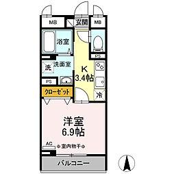 都営三田線 西巣鴨駅 徒歩8分の賃貸マンション 3階1Kの間取り