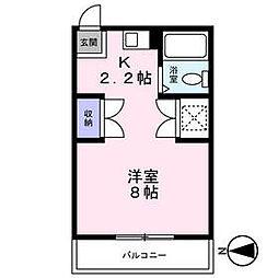 東急田園都市線 青葉台駅 バス10分 すみよし台下車 徒歩2分の賃貸アパート 2階1Kの間取り