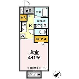 近鉄名古屋線 霞ヶ浦駅 徒歩12分の賃貸アパート 2階1Kの間取り