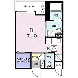 JR東海道本線 平塚駅 徒歩14分の賃貸アパート 1階1Kの間取り