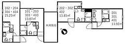 京成本線 新三河島駅 徒歩4分の賃貸アパート 2階ワンルームの間取り