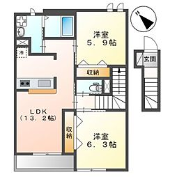 JR京浜東北・根岸線 大宮駅 バス8分 高鼻下車 徒歩3分の賃貸アパート 2階2LDKの間取り