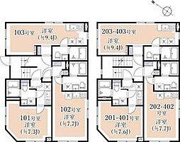 小田急小田原線 千歳船橋駅 徒歩9分の賃貸マンション 1階ワンルームの間取り