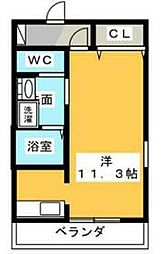 静岡鉄道静岡清水線 音羽町駅 徒歩2分の賃貸マンション 2階ワンルームの間取り