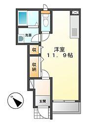 つくばエクスプレス つくば駅 3.4kmの賃貸アパート 1階ワンルームの間取り