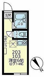 ユナイト文庫ミラフローレス 1階ワンルームの間取り