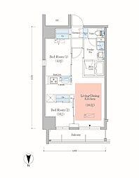 JR総武本線 錦糸町駅 徒歩8分の賃貸マンション 4階2LDKの間取り