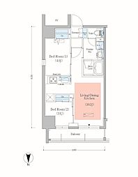JR総武本線 錦糸町駅 徒歩8分の賃貸マンション 2階2LDKの間取り