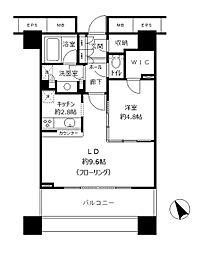 東京メトロ有楽町線 東池袋駅 徒歩2分の賃貸マンション 22階1LDKの間取り